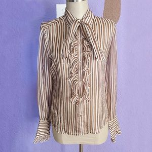 Juicy Couture Brown Striped Blouse Size Small